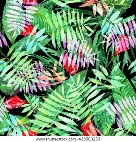 Leaf pattern background retro botanical style stylish flowers print - Floral Seamless Pattern Isolated On White Stock