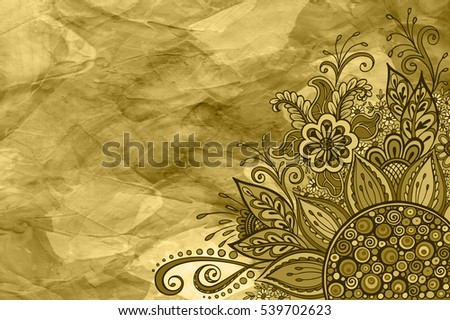 Floral Pattern, Symbolic Flowers and Leafs, Abstract Outline Ornament, Contours on Hand-Draw Oil Paint Painting Background