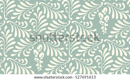 Floral seamless pattern background. Ornament with stylized leaves and flowers on hexagonal grid
