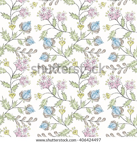 Floral seamless pattern in retro style, cute cartoon flowers white background