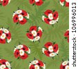 Floral seamless pattern. Meadow flower bouquet poppy and chamomile  background. - stock photo