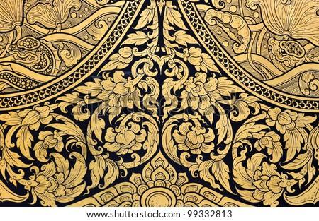 Floral Thai art on temple door & Thai Dragon Art On Temple Door Stock Photo 99332807 - Shutterstock Pezcame.Com