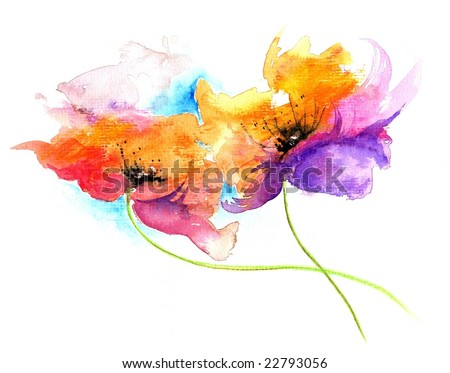 Floral watercolor illustration of fantasy flowers in beautiful colors