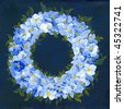 Floral wreath and dark blue background on canvas, painted with acrylic paints by the photographer herself - stock photo
