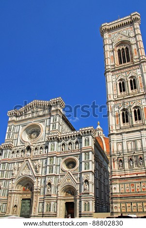 Florence,  Basilica of Saint Mary of the Flower facade and Giotto bell tower.
