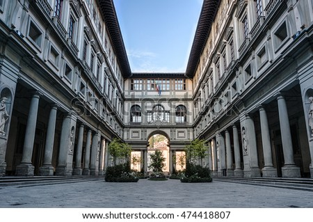 Florence, Italy - April 29, 2016: Uffizi gallery in Florence, Italy. It is one of the oldest and most famous art museums of Europe.