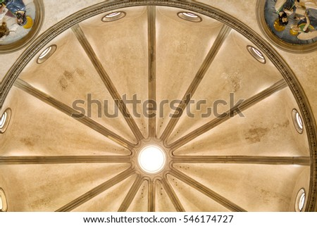 Florence, Italy-June 11, 2015. Detail view of the dome of the Pazzi chapel, Basilica di Santa Croce, Basilica of the Holy Cross, Florence, Italy