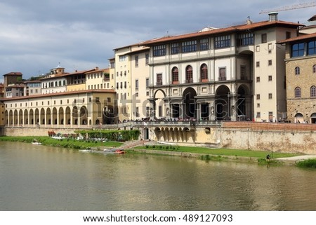 Florence, Italy - old town cityscape of riverfront with Uffizi Gallery.