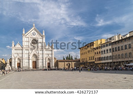 Florence, Tuscany, Italy- September 18, 2012: Church of Santa Croce in the Piazza di Santa Croce