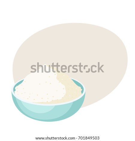 flour bowl baking ingre nts healthy organic stock vector