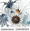Flower background. Blue and brown palette. Computer generated graphics. - stock photo