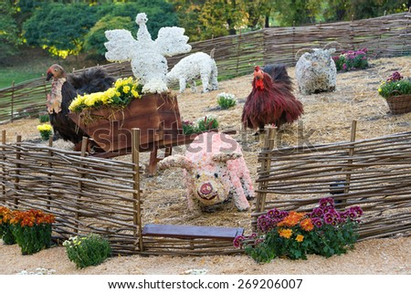 Flower beds in a shape of farm animals with colorful chrysanthemums. Parkland in Kiev, Ukraine