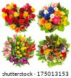 flower bouquets for Birthday, Valentines Day, Mothers Day, Easter. top view of four colorful blooms arrangements - stock photo