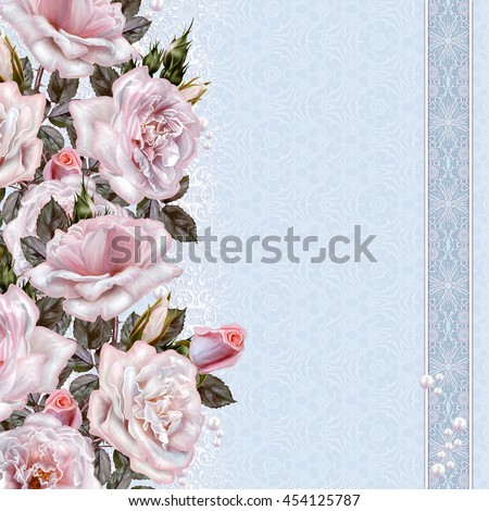 Flower composition. Bouquet of pink roses. Old style. Weave pattern, mosaic, lace. Vintage postcard.