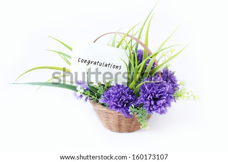 Flower in basket with gad bless. Studio Isolate so beautiful for a gift,greeting and congratulations.