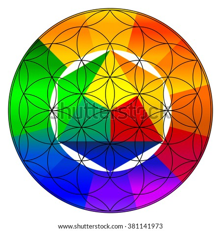Hindu symbol swastika lotus design colorful stock vector for Buddhist wheel of life template