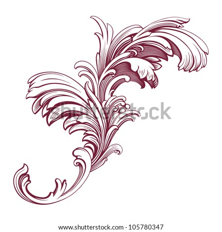 Pattern Scroll Motif For Vintage Design Card Royalty Free Stock ...