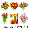 flower power. beautiful bouquet of colorful flowers in a vase. tulips, roses, narcissus, lily blossoms over white background. holidays decoration - stock