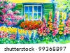 Flowering garden with window in background.Picture I have created with watercolors and colored pencils. - stock photo