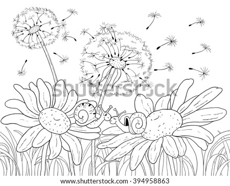 Flowers and insects. Fine summer day. Two cute snails sitting on the flowers. Daisies, dandelions, green grass and blue sky. Illustration for children. Coloring page. Greeting card.
