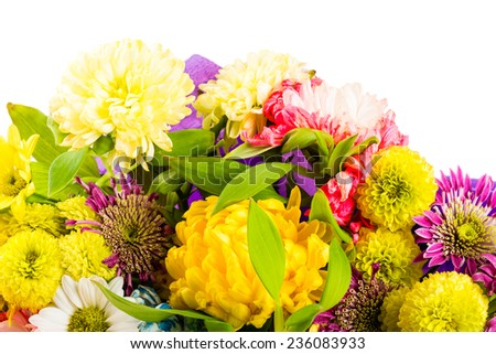 Close gerbera carnation flower bouquet on stock photo for A lot of different flowers make a bouquet