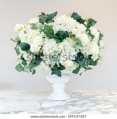 bouquet white chrysanthemum glass vase floral stock photo, Beautiful flower