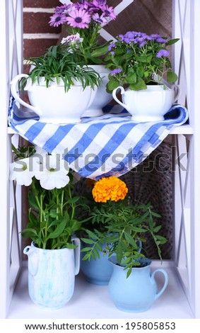 Flowers in  decorative pots on wooden shelves, on bricks background