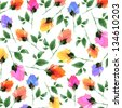 flowers watercolor original pattern seamless design - stock photo