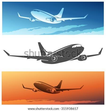 Flying Airplane set. Isolated silhouette and airplanes against morning or sunset sky.