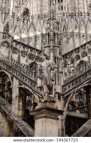 Flying buttresses, Milan cathedral, Italy Duomo