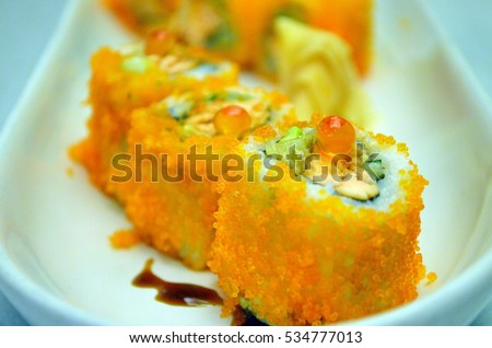 Special bean curd cuisine cooked oriental stock photo for Flying fish egg