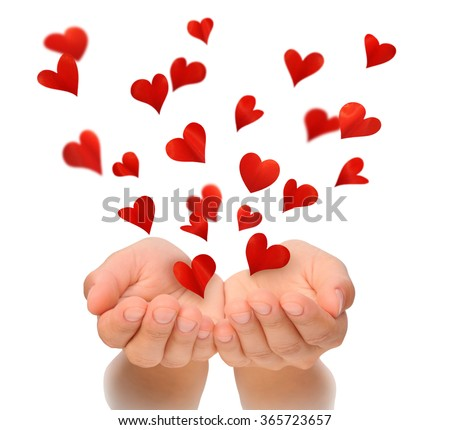 Flying hearts from cupped hands of woman, Valentine, Valentine's Day, Happy Valentines day, love concept, isolated, white background, birthday card, health insurance, hearts made from flower petals