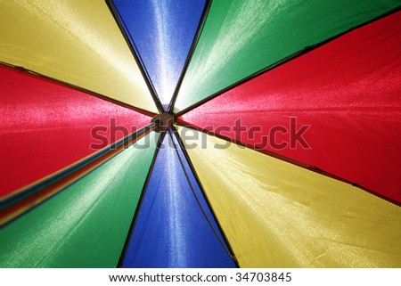 flying multicolored umbrella on clear blue sky