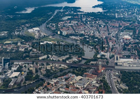 Flying over Germany - Aerial view of Berlin-Spandau and the River Havel