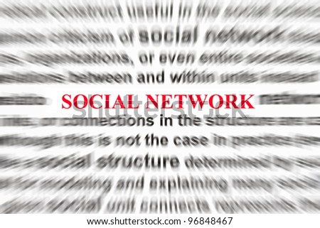 Focus on the word Social Network with definition blurry background.