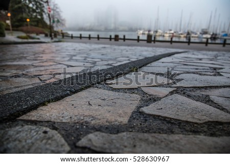 Foggy Quay of Vancouver,BC, Canada - False Creek