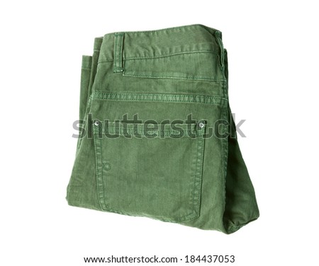 folded green male jeans isolated on white background