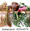 folk medicine.green pharmacy. alternative medicine.shelf of witch-doctor - stock photo