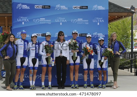 FOLSOM, CA - MAY 20:  The UnitedHealthCare Professional Cycling Team finishes in third at the 2016 Amgen Tour of California Womens Team Time Trial on May 20, 2016 in Folsom, CA.