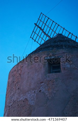 Fomentera, Balearic Islands: details of Moli Vell de La Mola at sunset on September 2, 2010. Moli Vell de La Mola is an old windmill built in 1778 and is the best preserved of the island