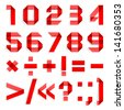 Font folded from red paper - Arabic numerals (0, 1, 2, 3, 4, 5, 6, 7, 8, 9). Vector version (eps) also available in gallery - stock photo
