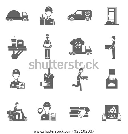 Food delivery and courier 24 hours black white flat icons set isolated  illustration