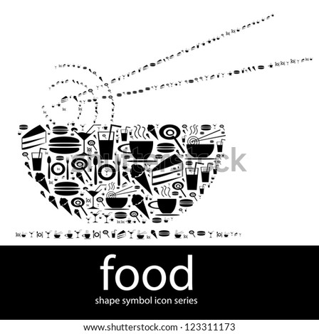 Food icon symbols composed in the shape of a bowl of mee with a set of chopstick