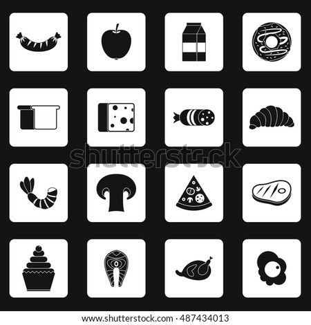 Food icons set in simple style. Everyday products set collection  illustration