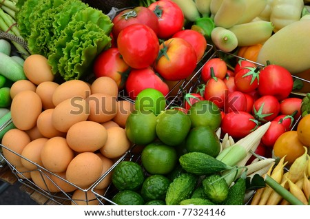 Food ingredients contain fruits vegetables and eggs.