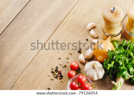 Kitchen Table Close Up food ingredients on kitchen table closeup stock photo 80124193