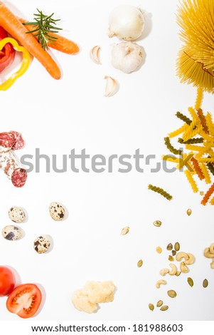 Food ingredients scattered around the white background. Food frame. Background for menu