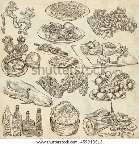 Set hand drawn food stock vector 142835236 shutterstock for Art cuisine evolution 10 piece cooking set