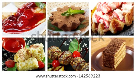 Food set of different  sweet dessert. collage