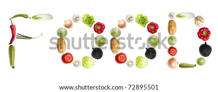 Food word made of different type of vegetables